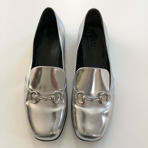 c9926c0201d3 Gucci Shoes - Gucci Kira metallic silver horsebit loafers